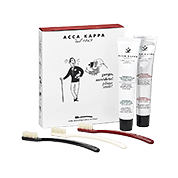 "Acca Kappa Barber Shop Collection Gift Set (Three vintage collection toothbrushes – assorted colors, ""total protection"" toothpaste, toothpaste with natural extracts)"
