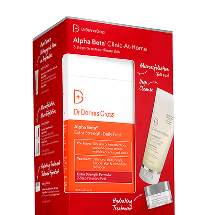 Dr. Dennis Gross Kits Clinic at Home Kit(14 ES Peel packettes + AB Cleansing Gel 60ml + AB Moisturizer 15ml).