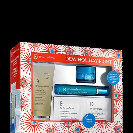 Dr. Dennis Gross Kits DEW Holiday Right Kit(14 EXS Peel Pads + AB Cleansing Gel 60ml + Hyal. Mar. Eye Gel 15ml + Hyal. Mar. Moist. Cushion 15ml)
