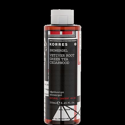 Korres Vetiver Root / Green Tea / Cedarwood Parfümiertes, feuchtigkeitsspendendes Duschgel