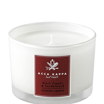 Acca Kappa Casa Collection Scented Candle in a High Quality Glass Black Pepper Sandalwood