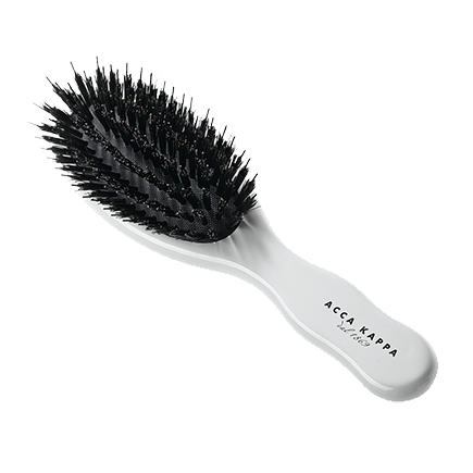 Acca Kappa Hairbrushes Collection Pneumatic White Lacquered Beech wood brush w/pure boar bristle tufs and nylon monofilament