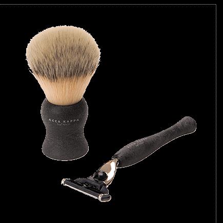 Acca Kappa Barber Shop Collection Shaving Set Brush & Razor Jet Black