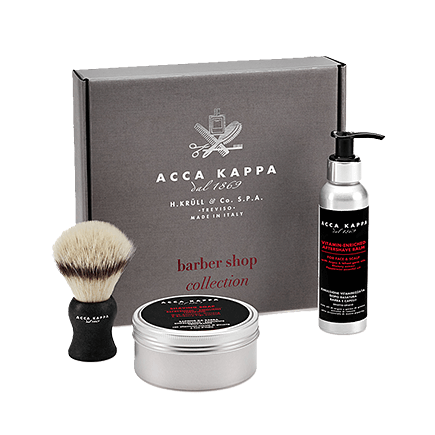 Acca Kappa Barber Shop Collection Gift Set (Brush, Shaving Soap, Aftershave Balm)