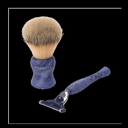 Acca Kappa Barber Shop Collection Shaving Set Brush & Razor Denim Blue