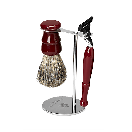 Acca Kappa Barber Shop Collection Shaving Set Brush, Razor & Stainless Steel Stand Red