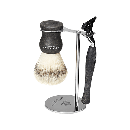 Acca Kappa Barber Shop Collection Shaving Set Brush, Razor & Stainless Steel Stand Black