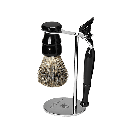 Acca Kappa Barber Shop Collection Shaving Set Brush, Razor & Stainless Steel Stand Jet Black