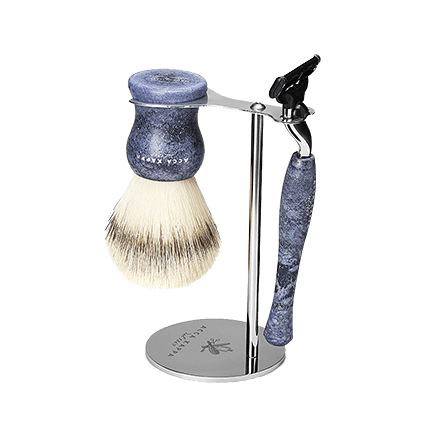 Acca Kappa Barber Shop Collection Shaving Set Brush, Razor & Stainless Steel Stand Denim Blue