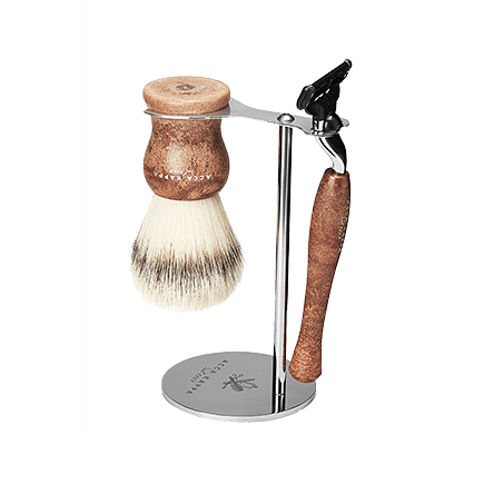 Acca Kappa Barber Shop Collection Shaving Set Brush, Razor & Stainless Steel Stand Synthetic Fibres