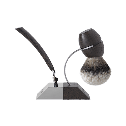 Acca Kappa 1869 Wenge Wood Shaving Kit with Stand in Wenge and Wood