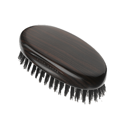 Acca Kappa Classic Collection Ebony Makasser Wood Military Style with Natural Bristles