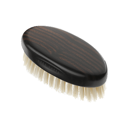 Acca Kappa Classic Collection Ebony Makasser Wood Military Style with White Natural Bristles
