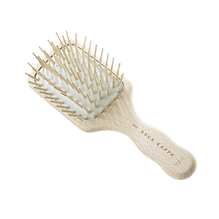 Acca Kappa Hairbrushes Collection SMALL RECTANGULAR TRAVEL PNEUMATIC BRUSH WITH WOODEN PINS